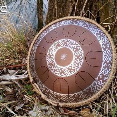 """GUDA drum MINI Overtone """"Ukrainian"""" with rope decoration"""