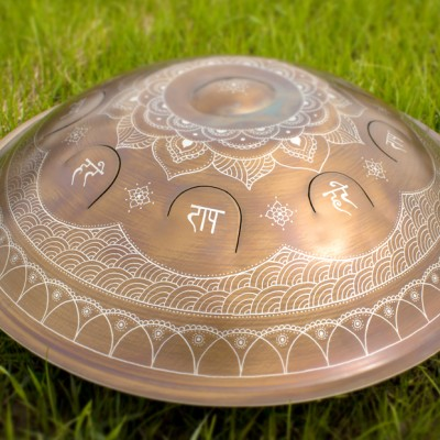 """GUDA drum Hybrid """"Lotos with Mantra"""" with rope decoration"""