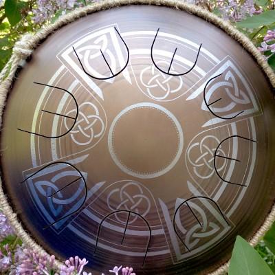 "GUDA drum MINI Overtone ""Celtic Cross"" with rope decoration"