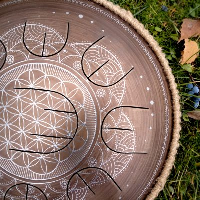 "GUDA drum MINI Overtone Plus ""Flower of life"" with rope decoration"