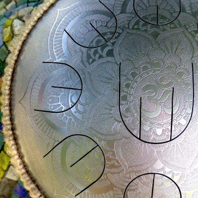 "GUDA drum MINI Overtone Plus ""Silver Flower"" with rope decoration"